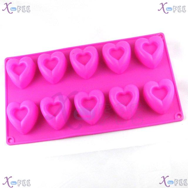 dgmj00024 DIY Pink Kitchen 10 Hearts Shape Silicone Bakeware Baking Mold Jelly Cake PAN 1