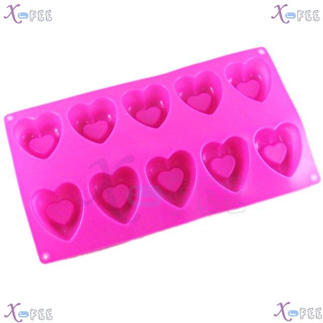 dgmj00024 DIY Pink Kitchen 10 Hearts Shape Silicone Bakeware Baking Mold Jelly Cake PAN 4