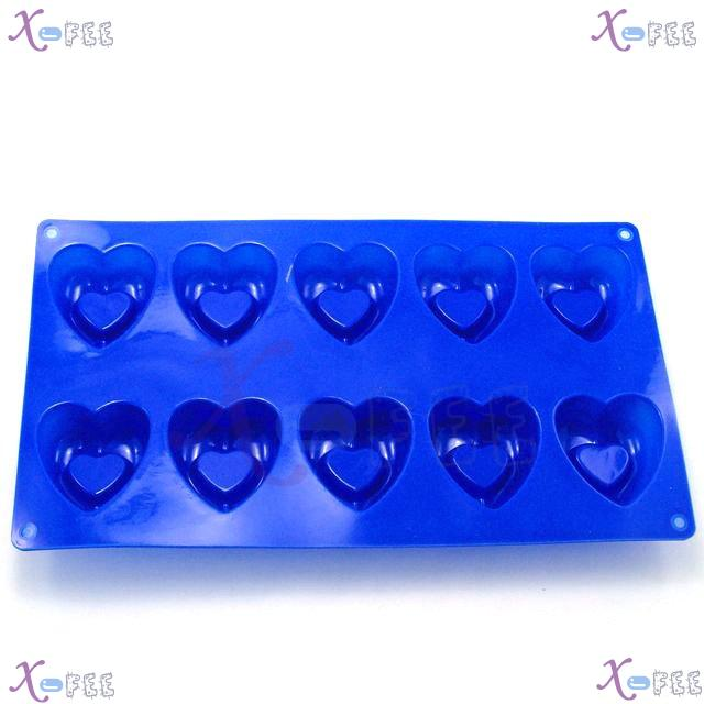 dgmj00025 DIY Blue Kitchen 10 Hearts Shape Silicone Bakeware Baking Mold Jelly Cake PAN 4