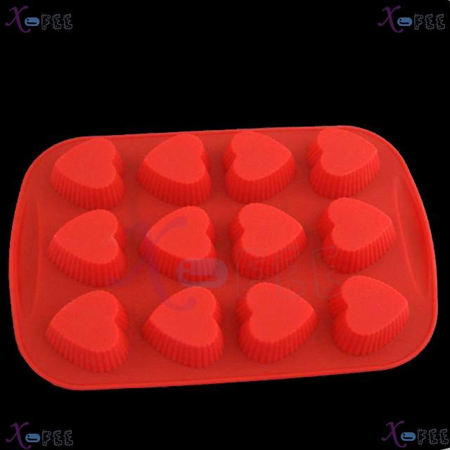dgmj00026 DIY FOOD RED Kitchen 12 Heart Shape Silicone Bakeware Baking Mold Jelly Cake PAN 1