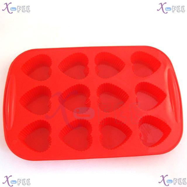 dgmj00026 DIY FOOD RED Kitchen 12 Heart Shape Silicone Bakeware Baking Mold Jelly Cake PAN 2