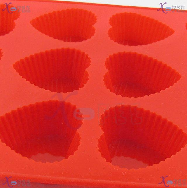dgmj00026 DIY FOOD RED Kitchen 12 Heart Shape Silicone Bakeware Baking Mold Jelly Cake PAN 3