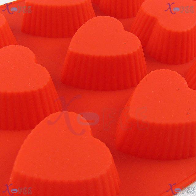 dgmj00026 DIY FOOD RED Kitchen 12 Heart Shape Silicone Bakeware Baking Mold Jelly Cake PAN 4