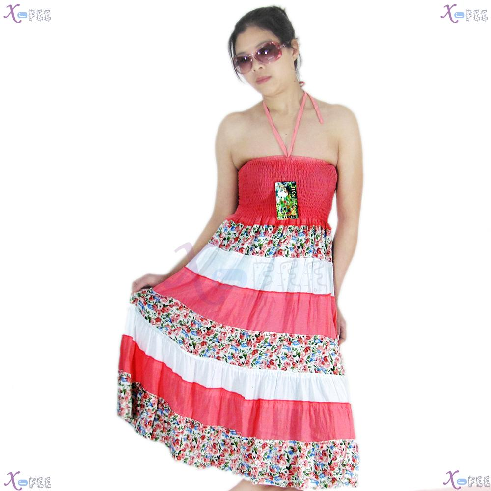 qz00023 Hawaii Floral Cotton Bright Pink Skirt Beach Elastic Soft Yarn Lining Sundress 1
