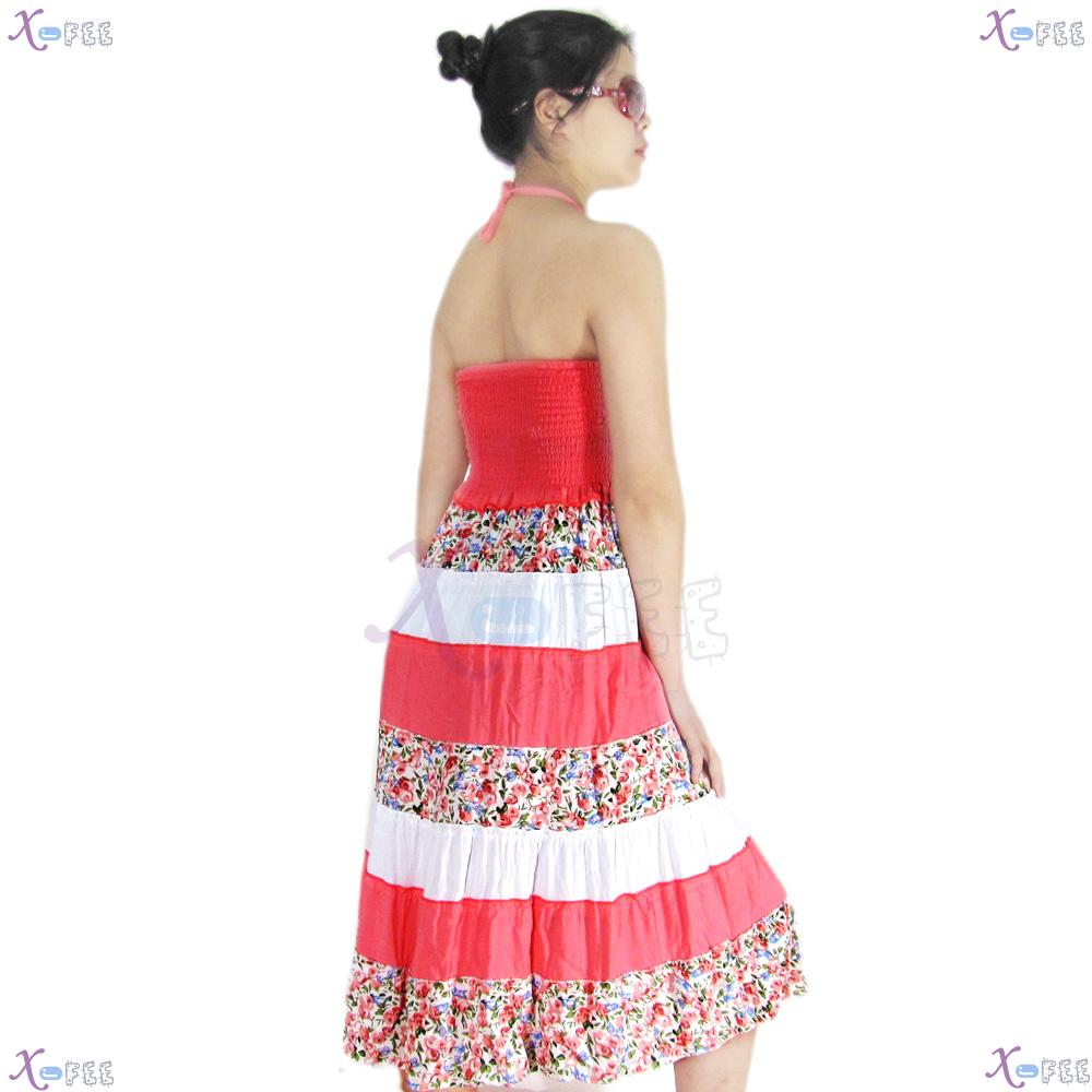 qz00023 Hawaii Floral Cotton Bright Pink Skirt Beach Elastic Soft Yarn Lining Sundress 2