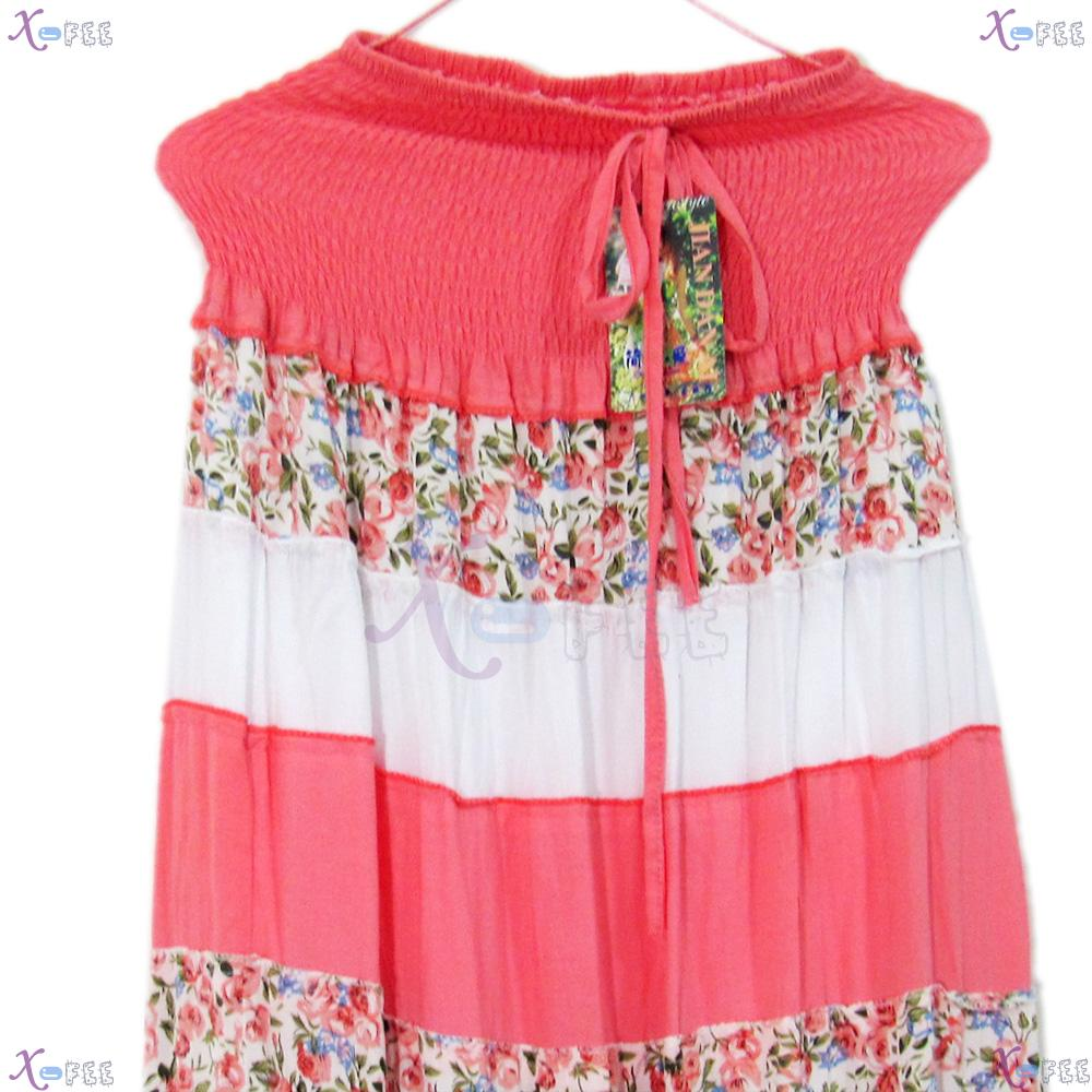 qz00023 Hawaii Floral Cotton Bright Pink Skirt Beach Elastic Soft Yarn Lining Sundress 4