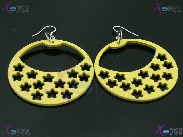 mteh00246 Fashion Jewelry Crafts Yellow Blue Snowflake Wood 925 Sterling Silver Earring 2