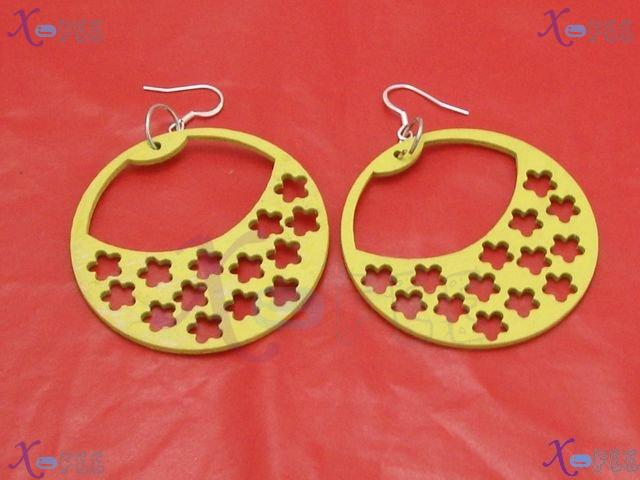 mteh00246 Fashion Jewelry Crafts Yellow Blue Snowflake Wood 925 Sterling Silver Earring 3