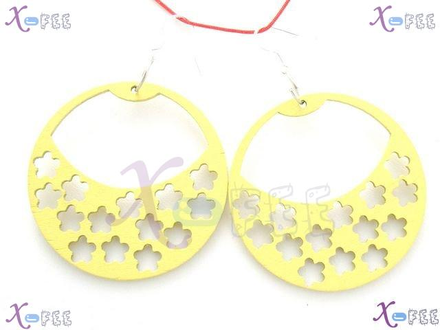 mteh00246 Fashion Jewelry Crafts Yellow Blue Snowflake Wood 925 Sterling Silver Earring 4